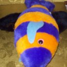 Stuffed Animal, Plush Toy, Orange and Purple Fish