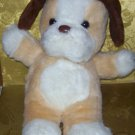 Stuffed Animal, Plush Toy, Big Fluffy white dog, brown ears 14 x5