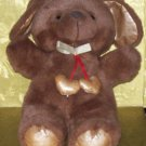 Stuffed Animals, Plush Toys,  Dogs -Brown Dog with 2 dangling gold hearts