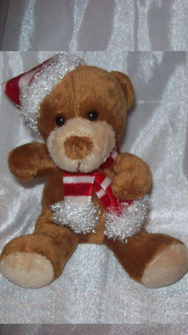 "**Stuffed Animal, Plush Toy, Christmas Plush Toy, 5"" tall Stuffed Santa Bear"