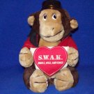 Stuffed, Animals, Large Plush Toy, Bell Boy Monkey holding a heart that says SWAK