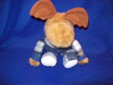Stuffed Animal, Plush Toy, Reindeer with blue and white plaid body suit.