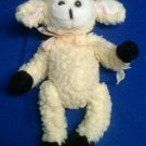 Stuffed Animal, Plush Toy, Beanie Lamb  with pink organdy bow  1988