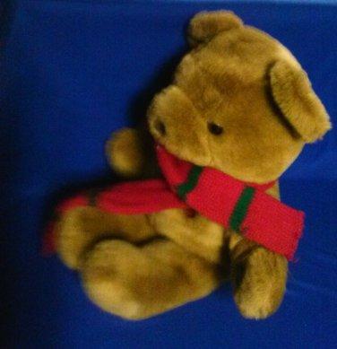 Stuffed Animal, Plush Toy- 1991, Large Brown Christmas Bear w/ shawl