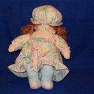 Rag doll, girl, white skin,  flowered dress cloth body
