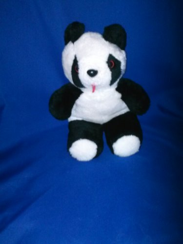 Stuffed Animal, Plush Toy, Black and white bear with brown eyes