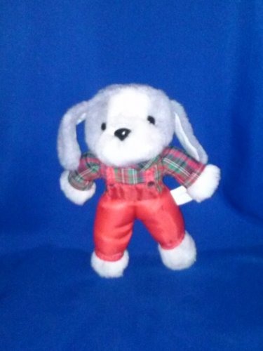 Stuffed Animal, Plush Toy, Cloud 9 dog wearing red nylon overalls with a checkered red shirt