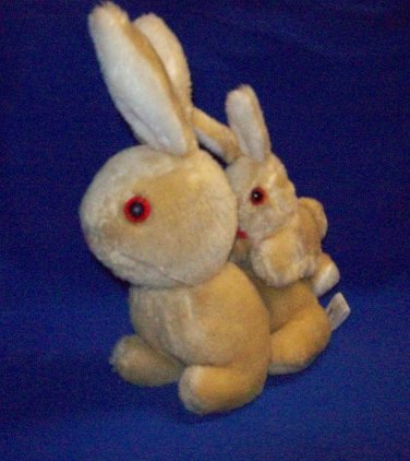 Stuffed Animal, Plush Toy, Beige mama and baby rabbit, by Etone 1978.