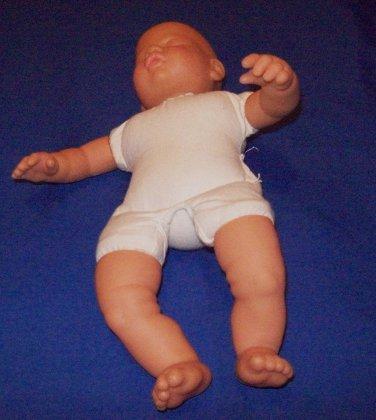 2  twin sleeping Caucasian Baby boy dolls, vinyl head, soft cloth body with flexible arms, legs.