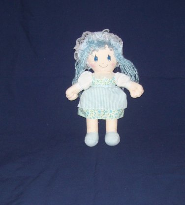 country blue rag doll, head, soft cloth body