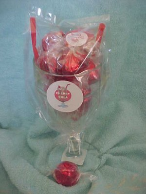 Old Fashioned Soda  Glass w/ Our famous Cherry Cola Chocolates