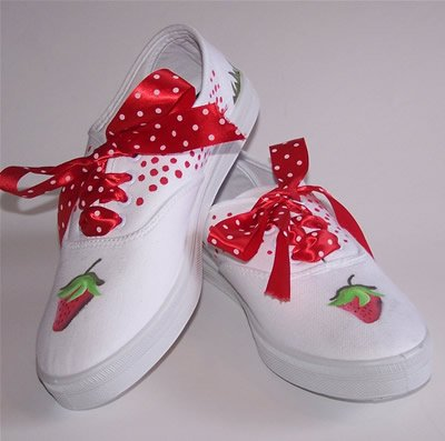 Custom Handpainted Strawberry Shoes