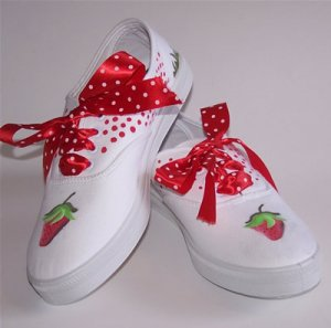 Custom Handpainted Strawberry Shoes