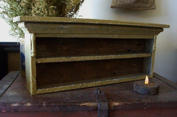 Primitive vintage Olde chippy painted shelf.....