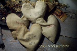 Primitive..Early style....buckwheat filled Hearts~Handmade