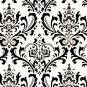 "Damask Table Square Traditions for centerpiece 18""x 18"" small runner black white"