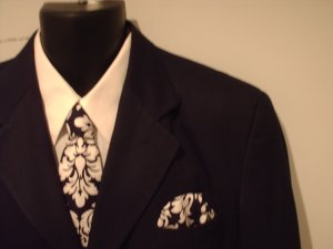 Men's Damask Necktie and Pocket Square Set- Black and White Dandy Damask  Print
