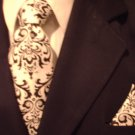 Mens Damask Black and Ivory Tie Necktie and Pocket Square Set- Madison Damask Print