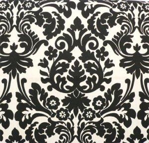 """Damask Table Square Black Ivory Cream Waverly Onyx 20"""""""
