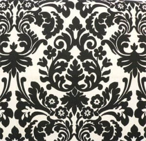 Damask Aisle Runner Black Cream/ Ivory/ Natural/ Off white Waverly Essence Onyx 25 ft