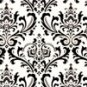 Damask Aisle Runner 25 ft.  Bridal Black on White Traditions 25 ft