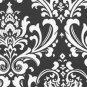 Damask aisle runner 25 ft long Traditions white on black