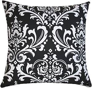 """Damask Pillow Cover- Custom White on Black Traditions Fabric 16"""""""