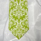 Damask Men's Necktie White on Lime Green Chartreuse Wedding Bridal Madison