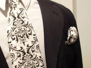 Mens Damask Black and White Tie Necktie and Pocket Square Set- Madison Damask Print