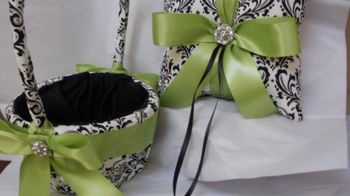 Damask flower girl basket and ring pillow : Damask ring bearer pillow and flower girl basket madison