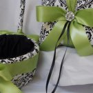 Damask Ring Bearer Pillow and Flower Girl Basket Madison Lime Green or choice of color