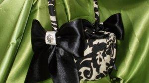 Damask FLOWER GIRL BASKET Black Ivory Cream Waverly Essence onyx WITH choice of ribbon color