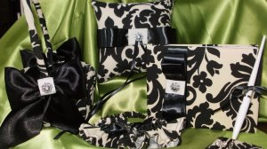 WEDDING SET- Damask Black  Ivory Pillow, Garter Set, Basket, Guest book set ,Waverly Onyx