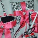 Damask Ring Pillow, Guestbook, Basket, Pen set Fuchsia