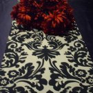 Damask Black & Ivory Cream White Table Runner Onyx 72""