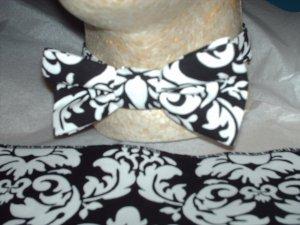 Damask Bowtie ONLY Men Black White Bow Tie Wedding