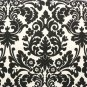 "damask table runner 48"" weddings bridal black cream 4 feet Waverly onyx"