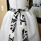 Damask sash Traditions black white for flower girl dress