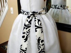 Damask sash Traditions black white for flower girl dress