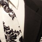 Damask Necktie Set Men Satin Black and  White Wedding Tie Size Regular