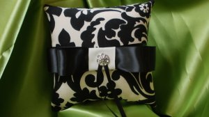 DAMASK RINGBEARER PILLOW Ring Pillow Black Ivory Waverly Onyx with Rhinestone Accent