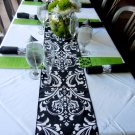 "Damask Runner 72"" Table Runner Traditions Osborne White on Black"