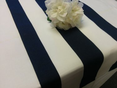 LARGE STRIPED TABLE RUNNER navy and white 9'  long wedding nautical home decor