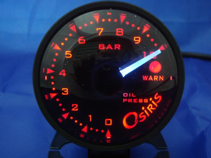 Osiris Professional 60mm Stepper Motor Oil Pressure Gauge BLACK RIM