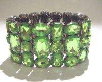 Green Rhinestone Bling Chunky Statement Bangle Cuff Bracelet