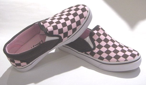 Pink/Brown Checker Board Sneakers Shoes Slip-ons Size 9