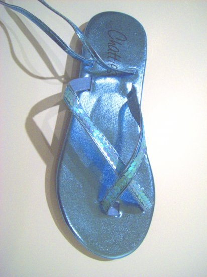 Women Blue Metallic Sequin Gladiator Sandals Flats Shoes Ankle Wrap Up Size 7/8