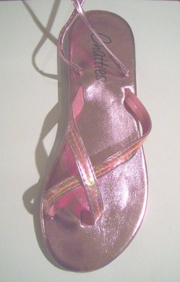 Women Pink Metallic Sequin Gladiator Sandals Flats Shoes Ankle Wrap Up Size 5/6