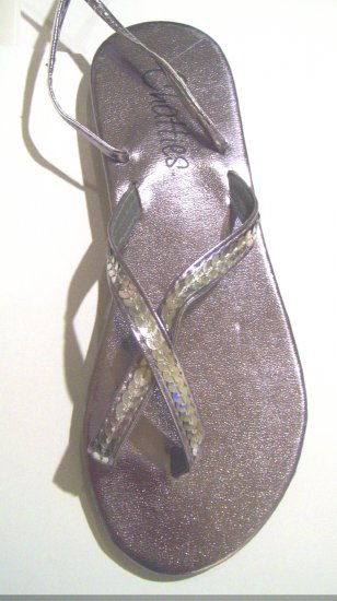 Women Pewter Metallic Sequin Gladiator Sandals Flats Shoes Ankle Wrap Up Size 9/10