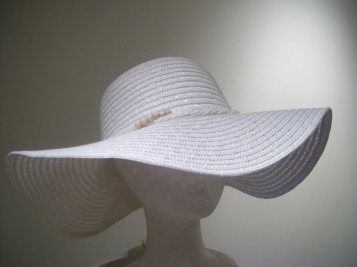 Women White Wedding Straw Sun Visor Beach Easter Derby Hat